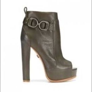 Olive leather Monika Chiang peep-toe ankle boot